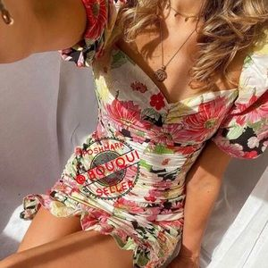 BLOGGER FAV ZARA FLORAL PRINTED DRESS WITH RUCHING